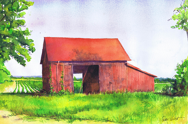 Red Painting - Red Barn Cutchogue Ny by Susan Herbst
