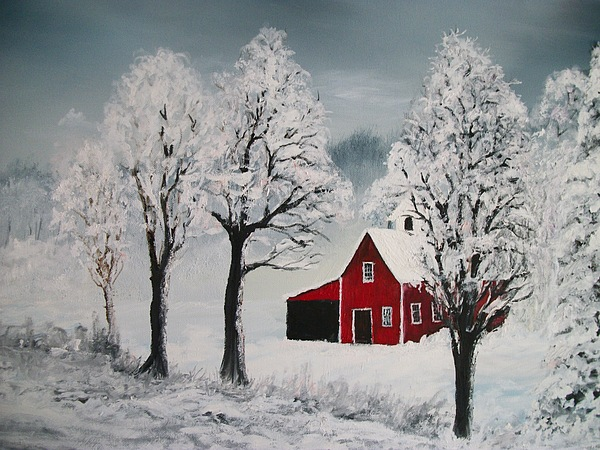 red barn in winter painting by keith erskine. Black Bedroom Furniture Sets. Home Design Ideas