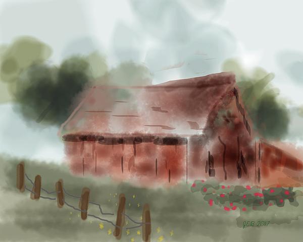 Barn Digital Art - Red Barn by John Bennett