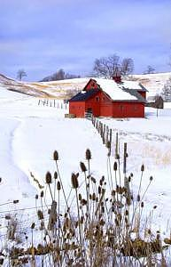 Winter Landscapes Photograph - Red Barn Winter - Upshur County West Virginia by Steve Shaluta