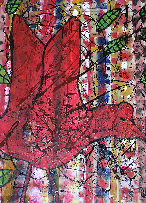 Abstract Painting - Red Bird I by Russell Simmons