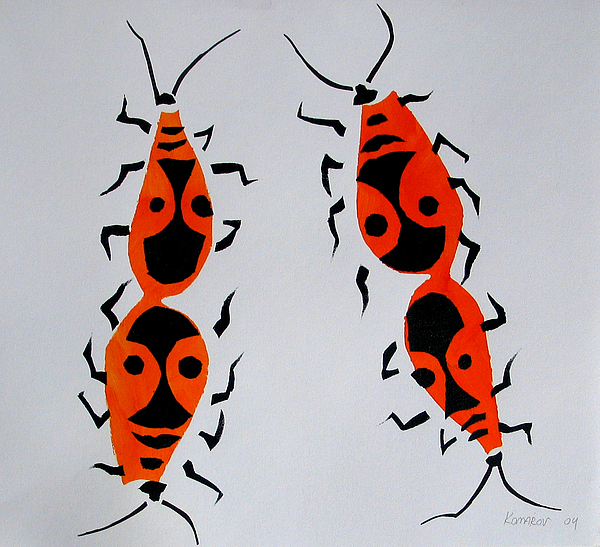 Bug Painting - Red Bugs by Vitali Komarov