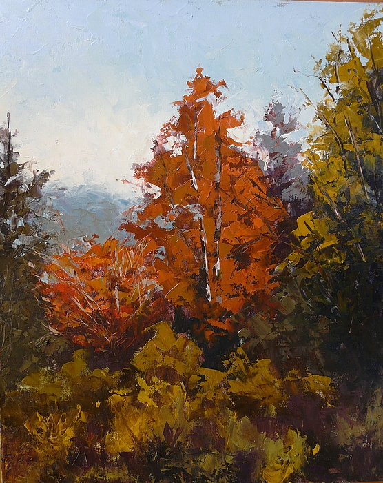 Trees Painting - Red Bush by Yvonne Ankerman