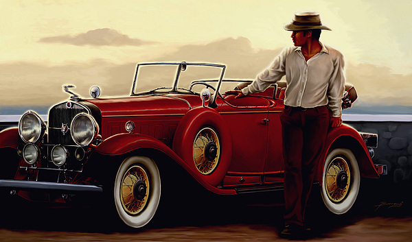People Digital Art - Red Cadillac by Szabolcs Berenyi