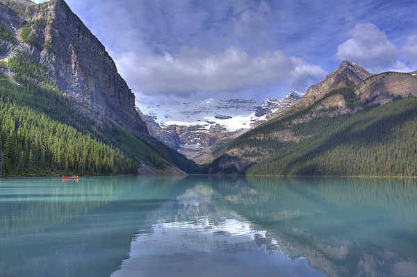 Canoe Photograph - Red Canoe On Lake Louise by Larry Whiting