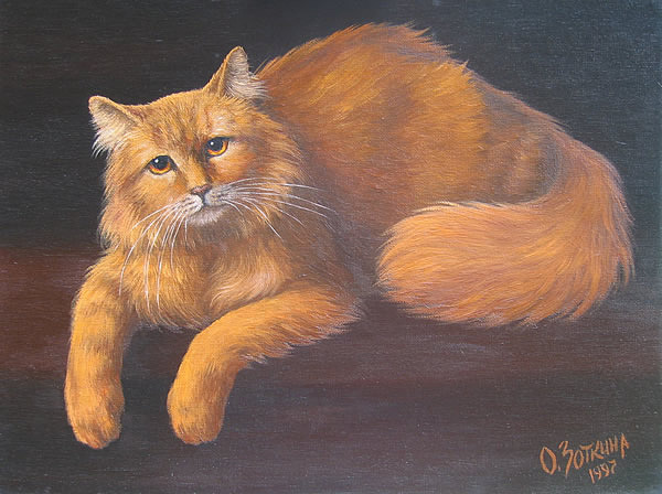 Cat Painting - Red Cat by Oksana Zotkina