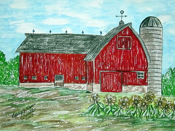 Red Painting - Red Country Barn  by Kathy Marrs Chandler