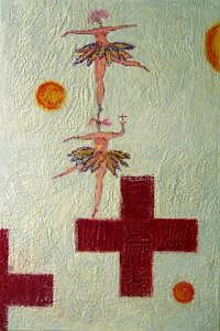Red Cross Ballet Painting by B and David A Midlo