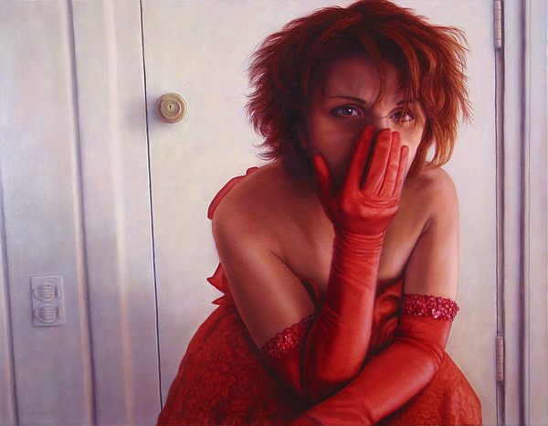Red Painting - Red Dress by James W Johnson