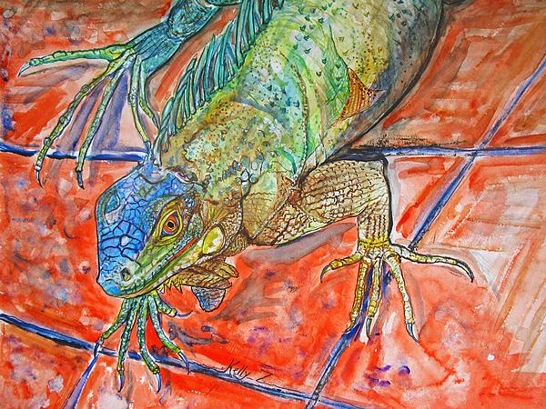 Iguana Painting - Red Eyed Iguana by Kelly     ZumBerge