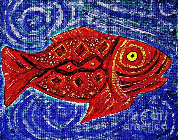 Fish Painting - Red Fish by Sarah Loft