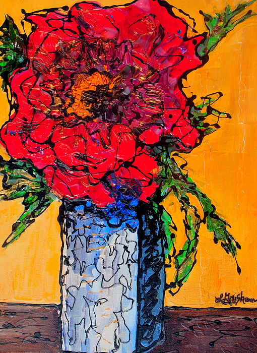 Red Flower Square Vase Painting By Laura Grisham