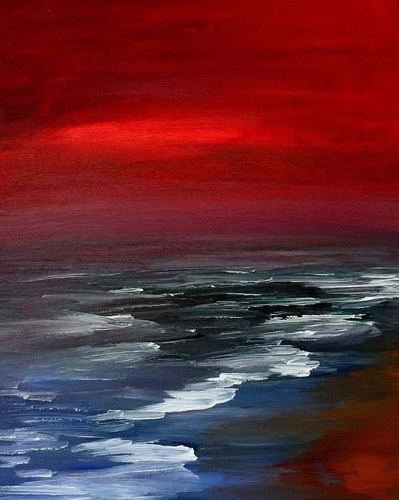 Sunset Painting - Red For Love by Julie Lueders