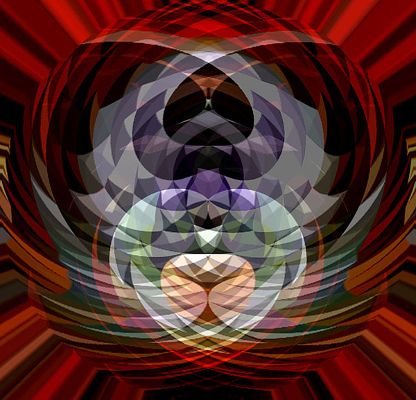 Red Ball Digital Art - Red Geo Low by Beverly Kimble Davis