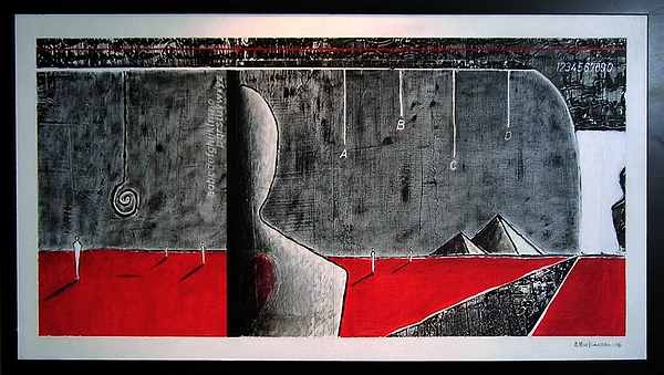 Red-grey - Enhanced Photo Of Painting Painting by Baard Martinussen