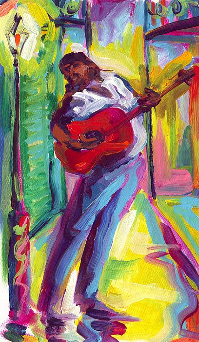 Red Painting - Red Guitar by Saundra Bolen Samuel