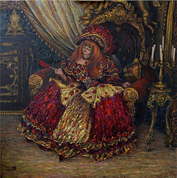 Composition Painting - Red-haired Mistress Of Louvre by Andrey Esipov