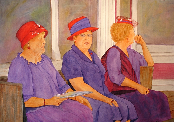 Ladies Painting - Red Hat Ladies by Rosie Phillips