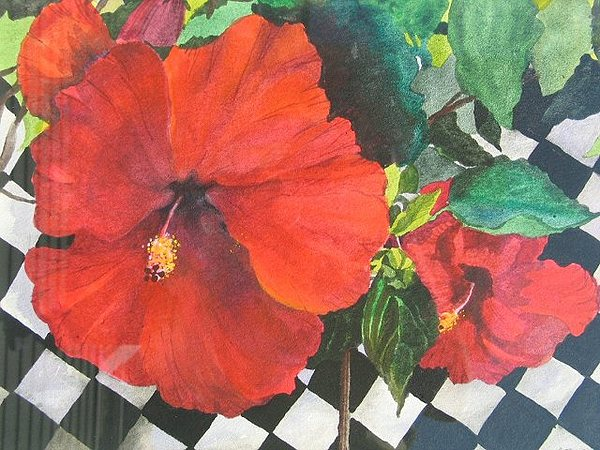 Floral Painting - Red Hibiscus by Carole Poole