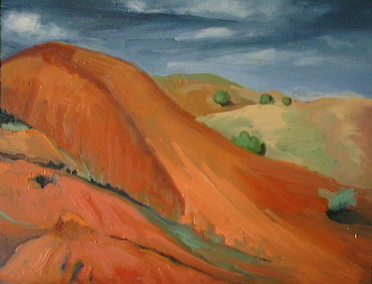 New Mexico Landscape Painting - Red Hills Nm by Eva Wittlinger