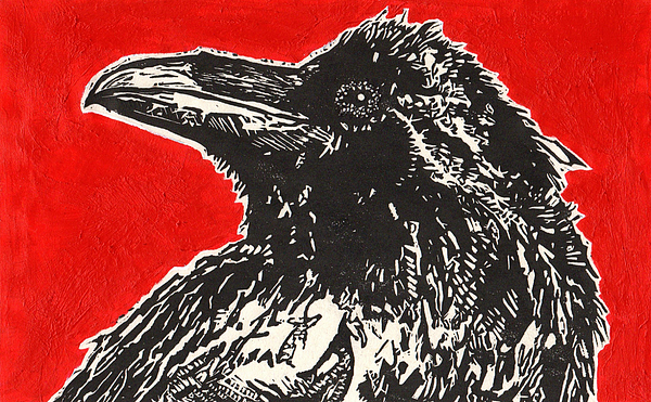 Linocut Painting - Red Hot Raven by Julia Forsyth