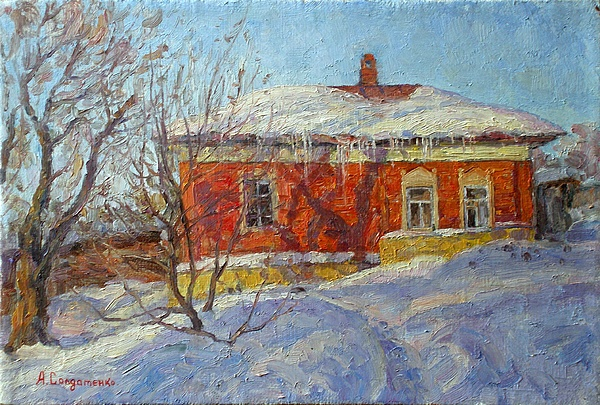 Landscape Painting - Red House by Andrey Soldatenko