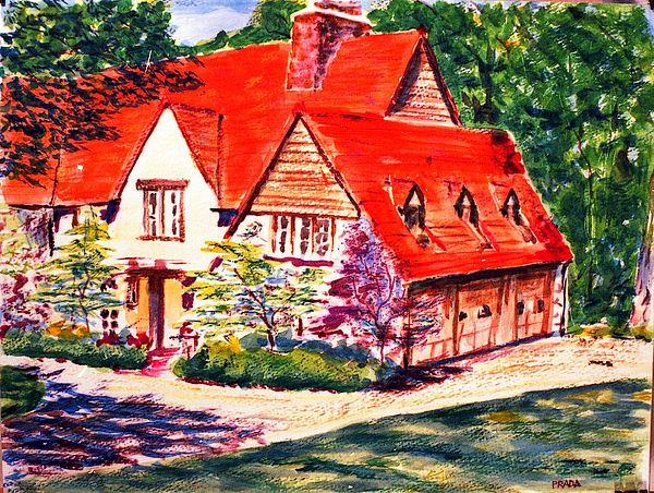 Watercolor Painting - Red House In Clayton by Horacio Prada