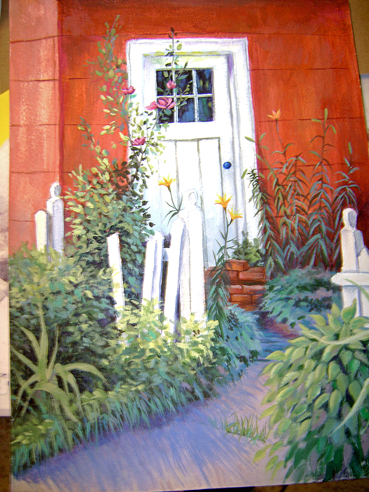 Landscape Painting - Red House by Judy Keefer