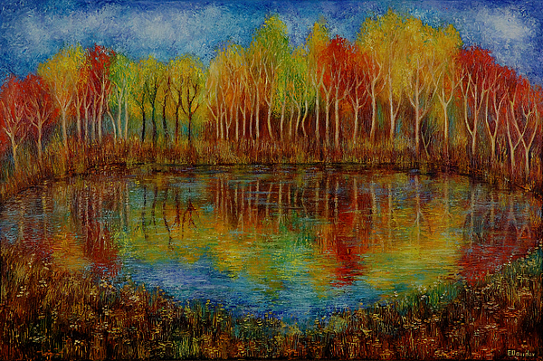 Landscape Painting - Red Lake. by Evgenia Davidov