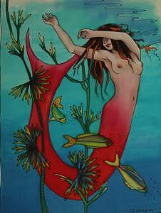 Mermaid Painting - Red Mermaid by Margriet Seinen