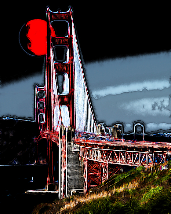 San Francisco Photograph - Red Moon Over The Golden Gate Bridge by Wingsdomain Art and Photography