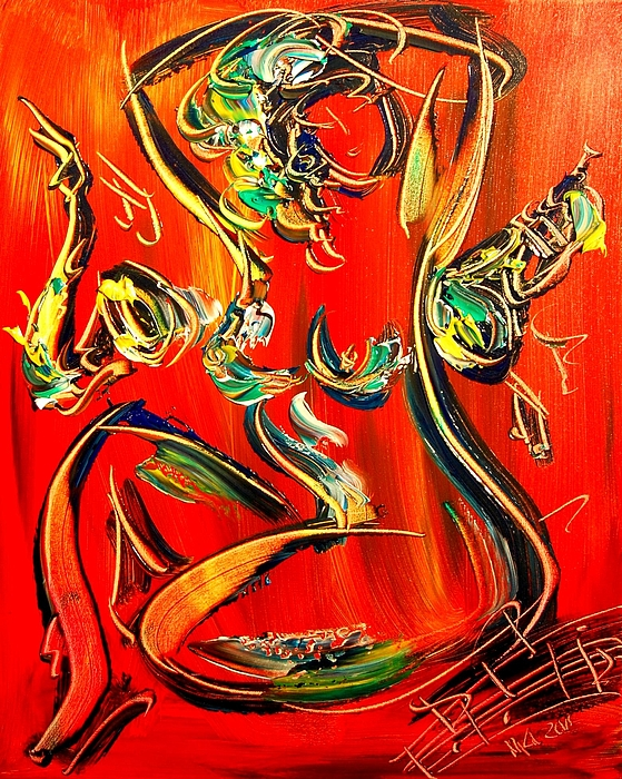 Red Nude Painting by Mark Kazav