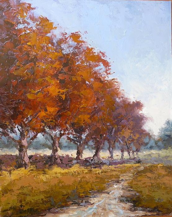 Landscape Painting - Red Oak Avenue by Yvonne Ankerman