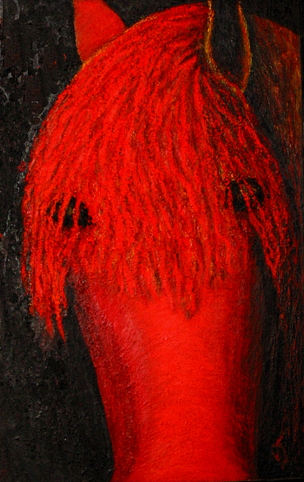 Horse Painting - Red by Patricia Obletz