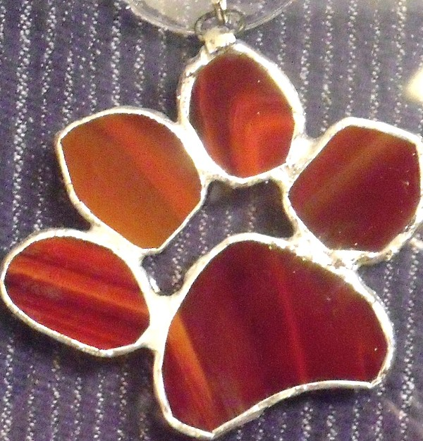Stained Glass Glass Art - Red Paw  by Djl Leclerc