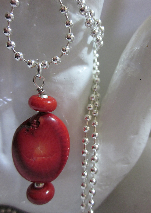 Handmade Lampwork Beads Jewelry - Red Planets Necklace by Janet  Telander