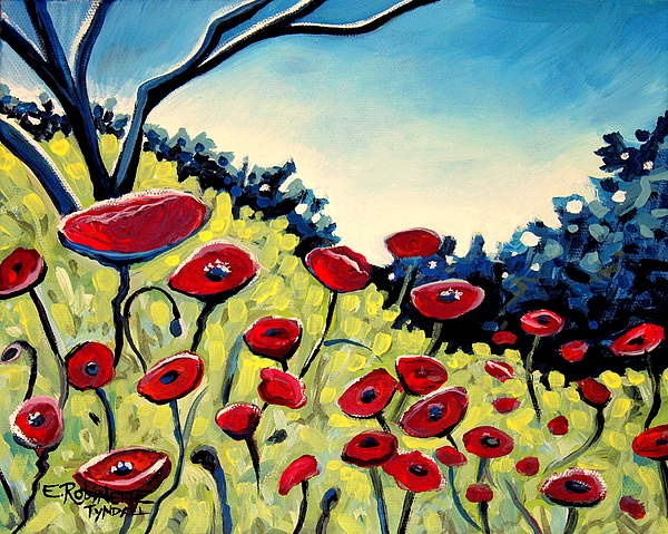 Poppies Painting - Red Poppies Under A Blue Sky by Elizabeth Robinette Tyndall