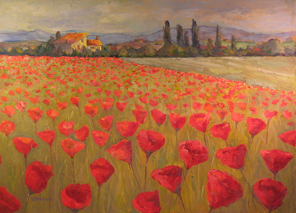 Landscape Painting - Red Poppy Field by Sam Pearson