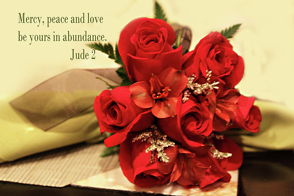 Scripture Photograph - Red Roas Bouquet Jude 2 by Linda Phelps
