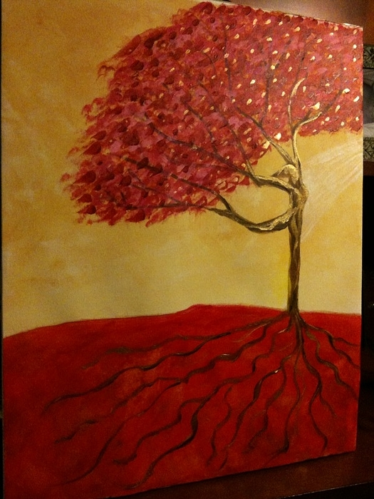 Red Rooted Tree Dancer Painting - Red Rooted Tree Dancer by Nora Sorensen
