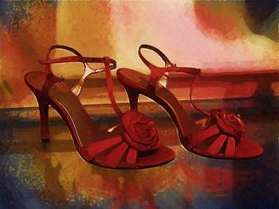 Red Shoes Photograph - Red Rose High Heel Shoes by Doug Dourgarian