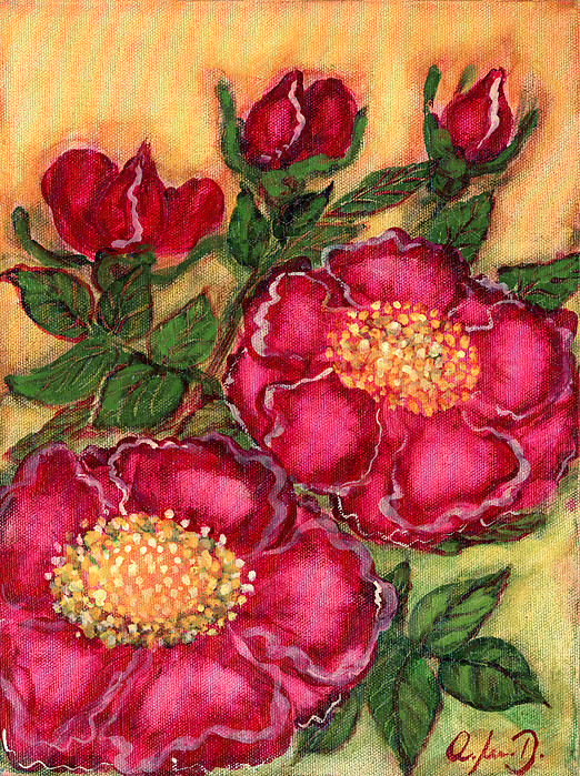 Folkartanna Painting - Red Roses by Anna Folkartanna Maciejewska-Dyba
