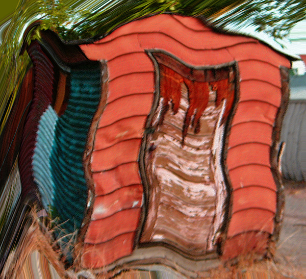 Abstract Digital Art - Red Shed by Lenore Senior