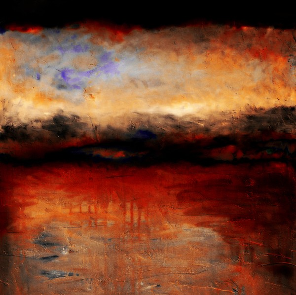 Night Painting - Red Skies At Night by Michelle Calkins