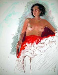 Red Skirt Painting by Barbara Noonan