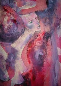 Female Nude Painting - Red by Sona  Yeghiazaryan