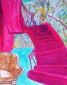 Stairs Painting - Red Staircase by Michele Vavonese
