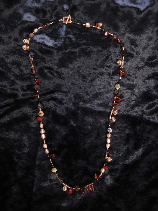 Red Tiger Eye Jewelry - Red Tiger Eye And Bell Pearl Necklace by Jan Durand