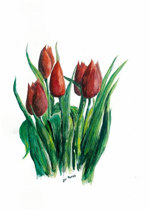 Red Tulips Botanial  Painting by Jim  Romeo