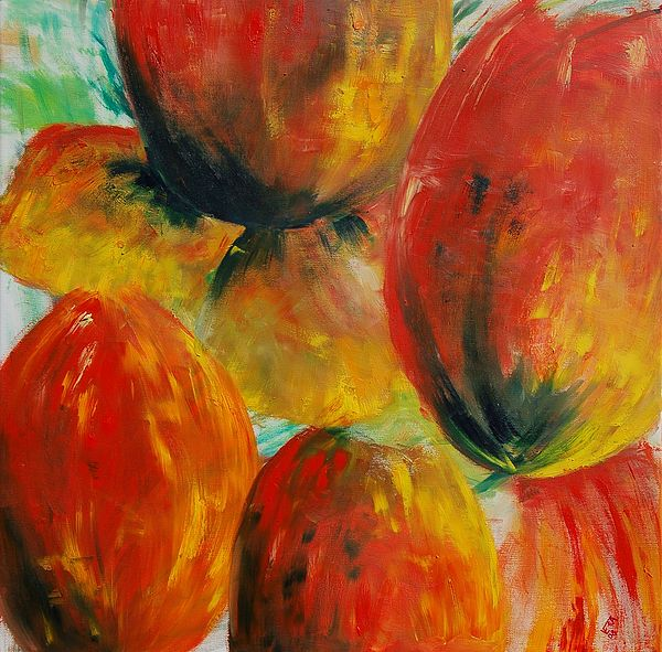 Red Tulips Painting by Veronique Radelet